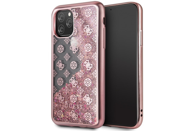 Guess 4G Peony Liquid Glitter Case - Apple iPhone 11 Pro - Pink - Cover - Schutzhülle