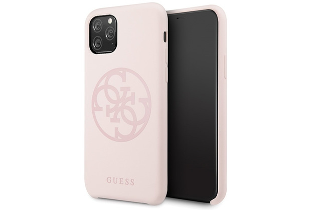 Guess 4G Silicon Collection Print Logo Case - Apple iPhone 11 Pro Max - Hellpink -Hard Cover- Schutzhülle