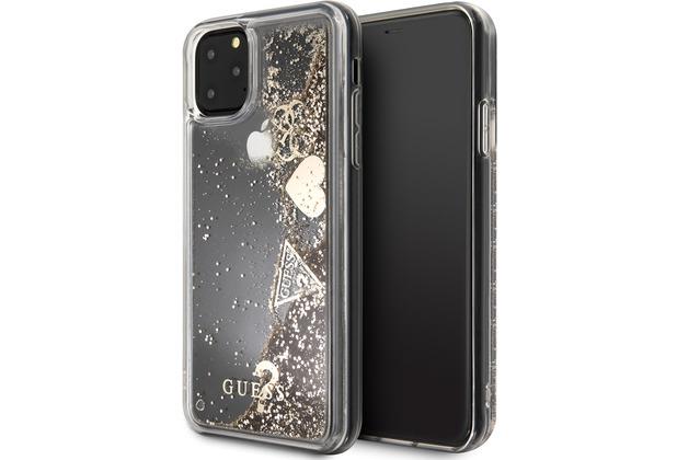 """Guess Hard Case - \""""Hearts\"""" Glitter - Apple iPhone 11 - Gold - Schutzhülle"""