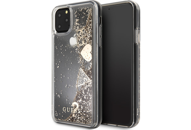 "Guess Hard Case - ""Hearts\"" Glitter - Apple iPhone 11 Pro - Gold - Schutzhülle Cover"