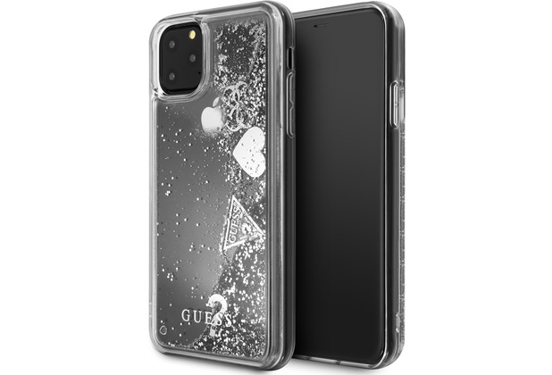"Guess ""Hearts\"" Glitter - Apple iPhone 11 - Silber - Schutzhülle - Hard Case"