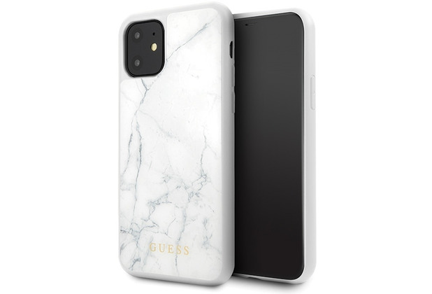Guess Marble Collection - Apple iPhone 11 - Weiss - Hard Case - Cover - Schutzhülle