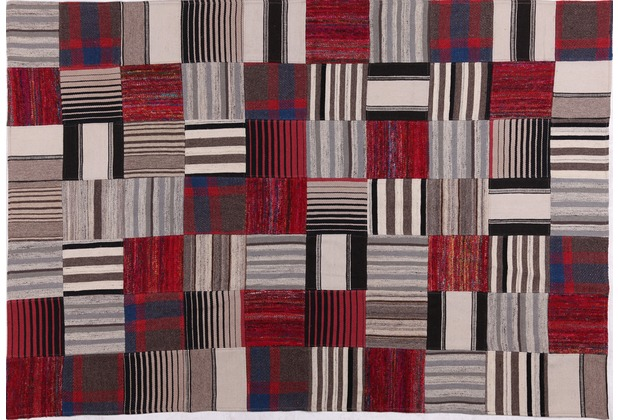 Handwebteppich FLASH HOUSE 1603 red-black gemustert 140 cm x 200 cm