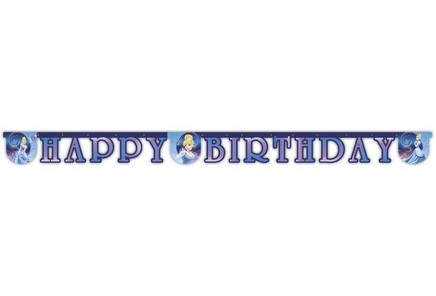 """PROCOS \""""Happy Birthday\""""-Girlande, Motiv Cinderella"""
