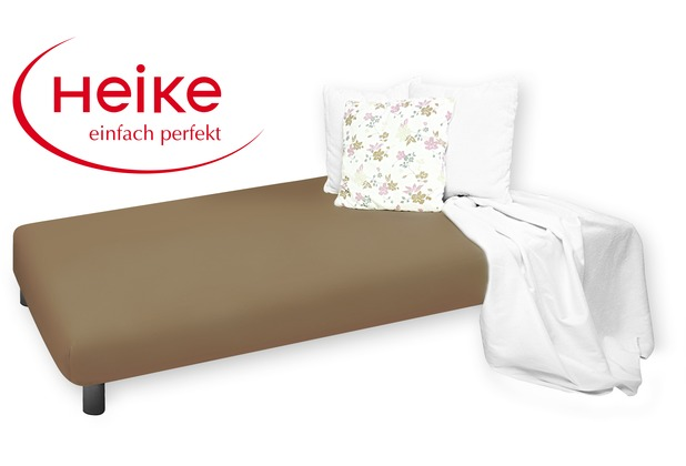 HEIKE Jersey Multistretch Spannbetttuch trüffel 90 - 100x220 cm