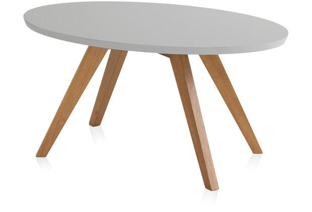 Henke Möbel Couchtisch Spitzfüße oval grau 90 x 60 cm