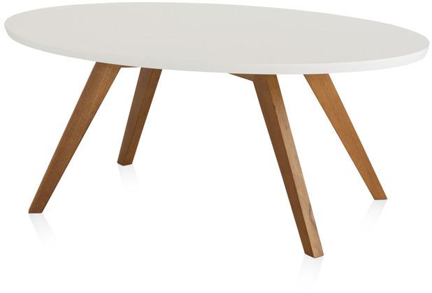 Henke Möbel Couchtisch Spitzfüße oval weiß 110 x 70 cm