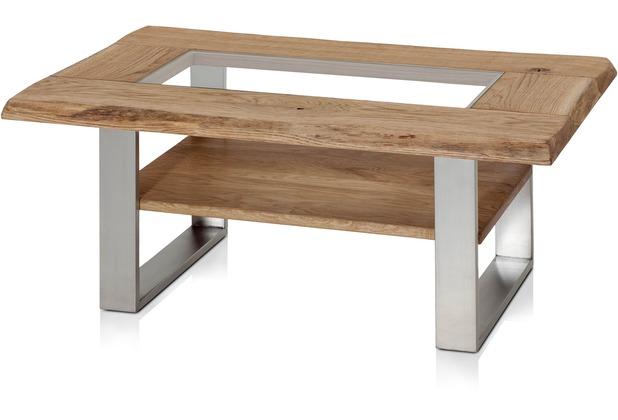 Henke Möbel Eiche Rahmen-Couchtisch mit ESG 110 x 70 cm