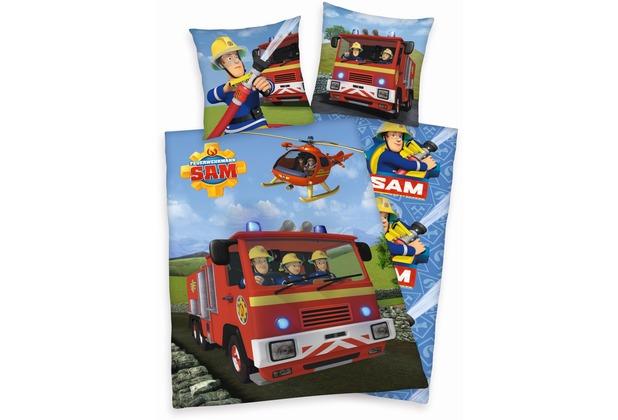 Herding Feuerwehrmann Sam Bettwäsche Renforcé 80x80 + 135x200 cm