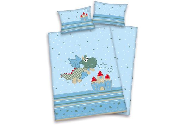 Herding Jana Drachen Bettwäsche 100x135 40x60 Cm Blau Hertiede