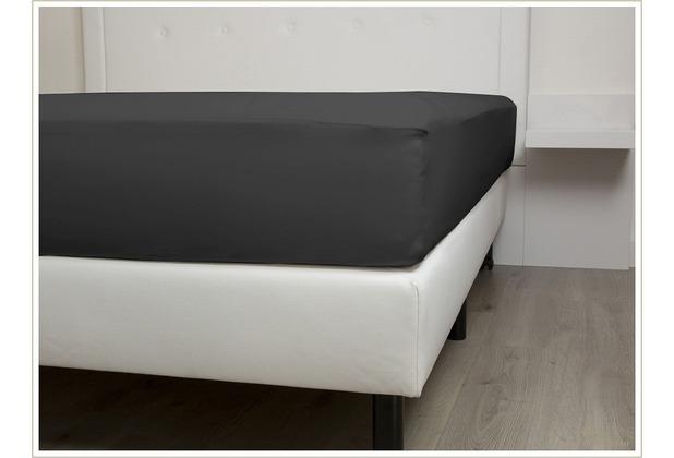 Heckett & Lane Mako-Satin-Spannlaken. Dark Gull Grey dunkelgrau 140x200