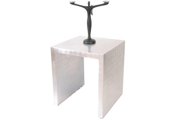 Holländer Beistelltisch OTTICA NOBILE ARGENTO, höhe 55 cm, Akazienholz MDF mit Blattsilber