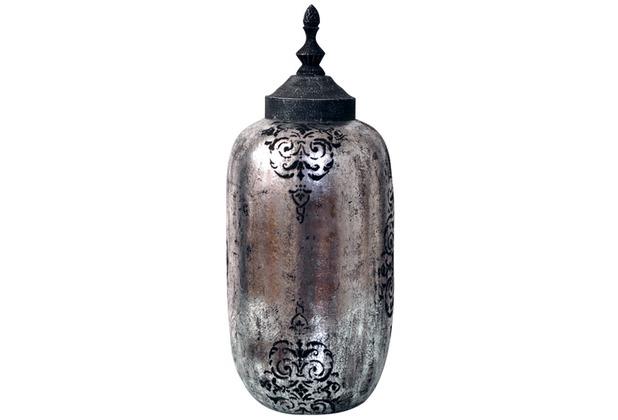 Holländer Deckelvase ORNAMENTO KLEIN Keramik silber-schwarz