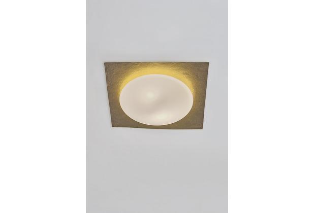 Holländer Deckenleuchte 2-flg. PUGLIA Eisen gold mit gehämmerter Oberfläche, eckig