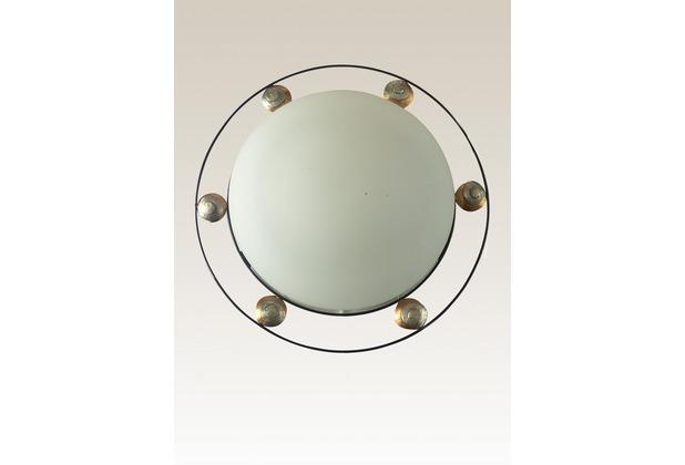 Holländer Deckenleuchte 2-flg. SNAIL THREE Eisen braun-gold-silber - Glas weiß opal