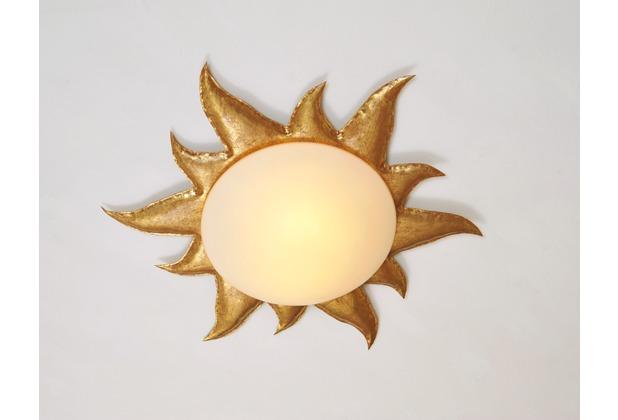 Holländer Deckenleuchte 2-flg. SOLE ORO Eisen gold - Glas weiß opal