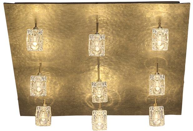 Holländer Deckenleuchte 9-flg. LUCENTE Eisen gold mit gehämmerter Oberfläche