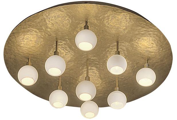 Holländer Deckenleuchte 9-flg. LUCENTE Eisen gold mit gehämmerter Oberfläche rund
