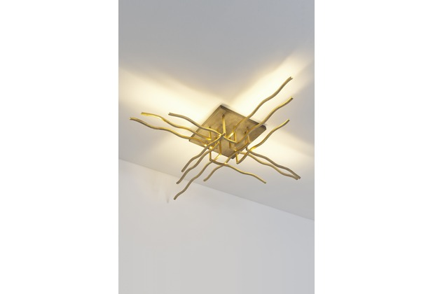 Holländer Deckenleuchte BUFFET Leuchtstreben gold und die quadratische Deckenplatte braun