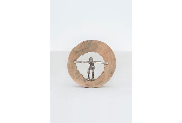 Holländer Dekofigur NUOTATORE Mangoholz natur Figur Aluminium silber