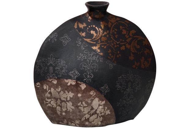 Holländer Dekovase MARY OVAL KLEIN Keramik schwarz-bronze-silber