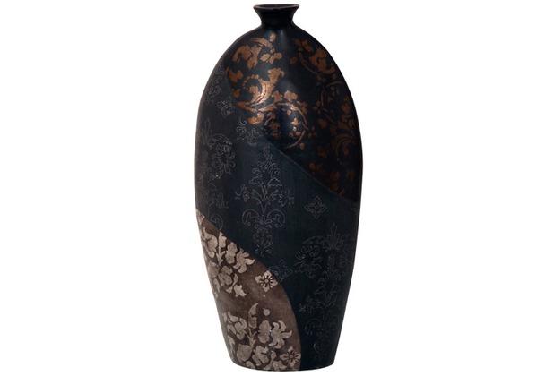 Holländer Dekovase MARY OVAL MITTEL Keramik schwarz-bronze-silber