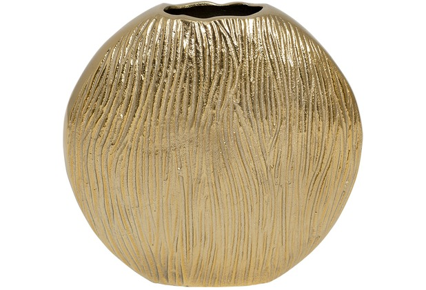 Holländer Dekovase SCUDO OVAL PICCOLO Aluminium gold - Seiten poliert