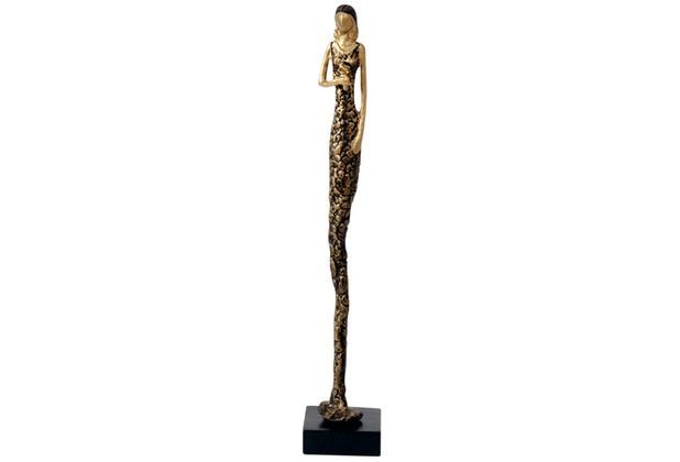 Holländer Figur ESPLOSIVITA DUE Aluminium gold-bronze - Fuß aus Holz schwarz