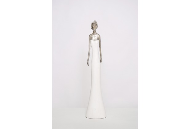 Holländer Figur MILANO Aluminium silber - Holz weiß Pose 2