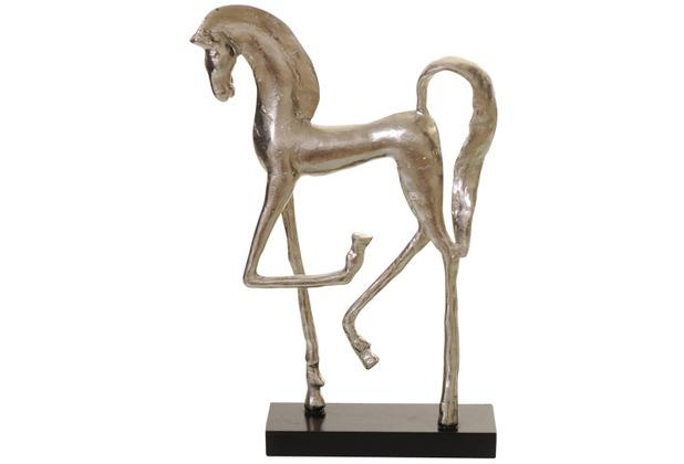 Holländer Figur STALLION Aluminium silber - Fuß aus Holz schwarz Pose 2