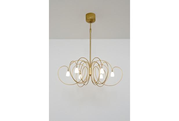 Holländer Hängeleuchte 6-flg. ROSASPINA Eisen gold - Glas weiß opal