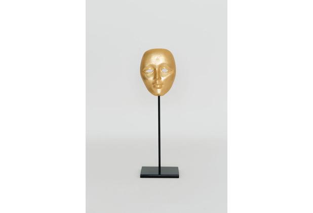 Holländer Maske CANDIDATO GRANDE Aluminium vergoldet gold Ständer Eisen schwarz