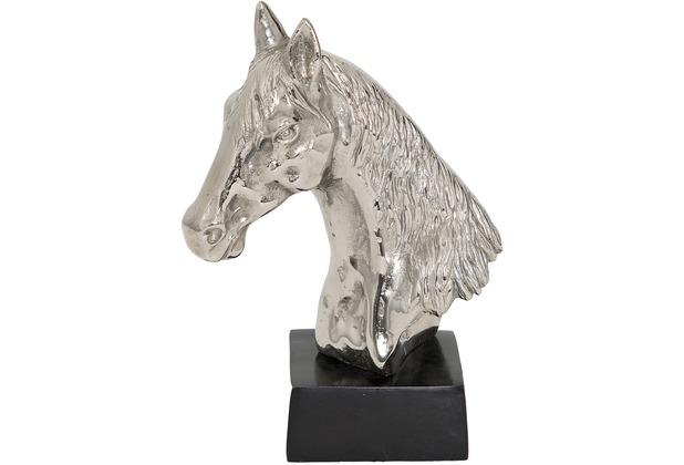 Holländer Pferdekopf PUROSANGUE Aluminium silber-schwarz, Blick nach links