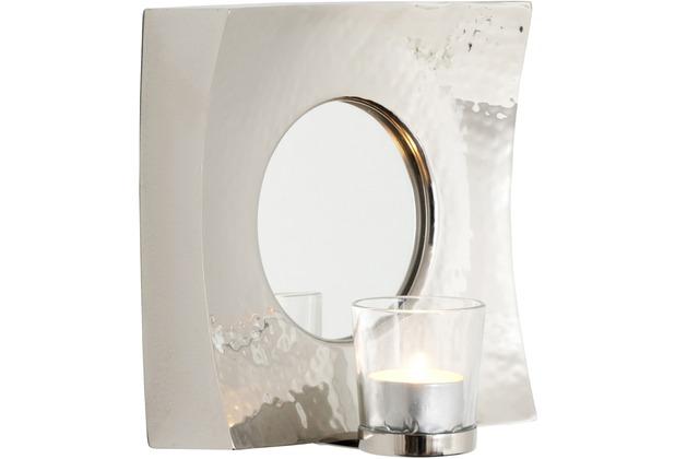 Holländer Spiegelwindlicht BASILICO Aluminium silber - Spiegelglas - Glas für Teelicht abnehmbar