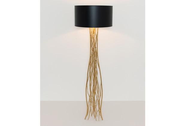 Holländer Stehleuchte 1-flg. CAPRI Eisen gold - Schirm außen schwarz-innen gold