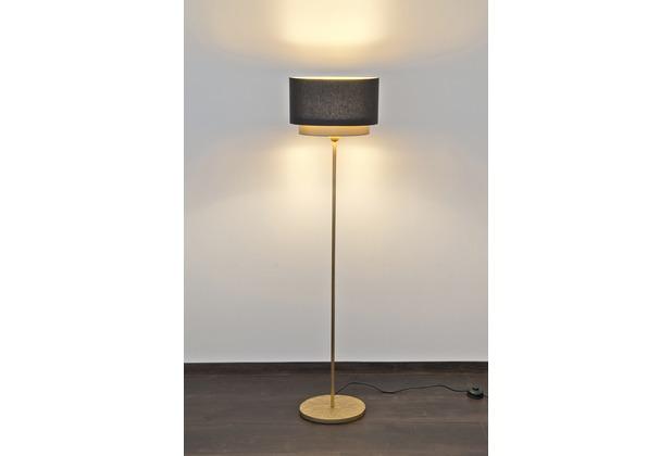 Holländer Stehleuchte 1-flg. MATTIA OVAL Eisen gold - Schirm oval Chintz 2 Ebenen außen schwarz und gold sowie innen gold