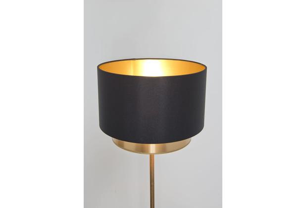Holländer Stehleuchte 1-flg. MATTIA RUND Eisen gold Schirm rund Chintz 2 Ebenen außen schwarz-gold, innen gold