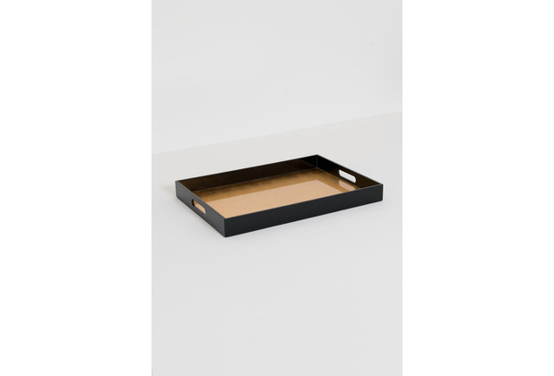 Holländer Tablett EGOISTA GRANDE MDF Lack schwarz glänzend Oberfläche Blattgold