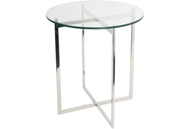 Holländer Tisch FAVORITO Edelstahl silber - Glas klar