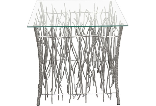 Holländer Tisch RELITTO QUADRAT Metall silber - Glasplatte klar