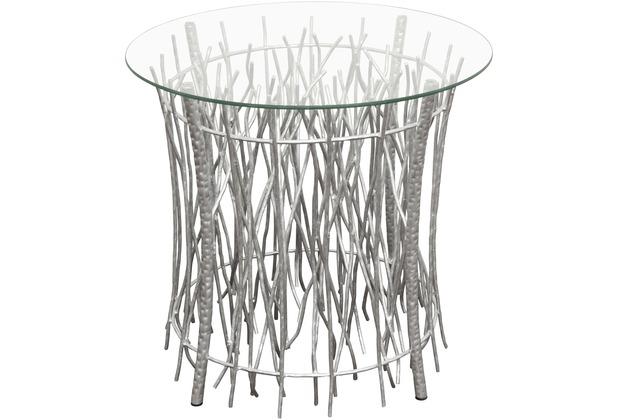 Holländer Tisch RELITTO RUND Metall silber - Glasplatte klar