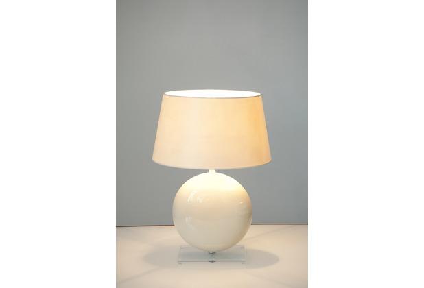 Holländer Tischleuchte 1-flg. BILLIARDO Keramik cremeweiss - Plexiglas - Fuß oval - Schirm rund écru