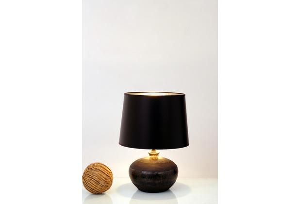 Holländer Tischleuchte 1-flg. MELISSA Keramik schwarz-grau-silber - Schirm Lack schwarz innen silber
