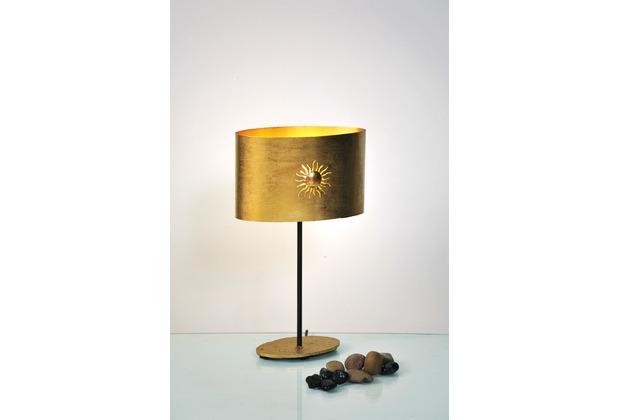 Holländer Tischleuchte 1-flg. SUN OVAL Eisen gold-braun - Metallschirm oval