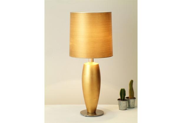 Holländer Tischleuchte 1-flg. THETA SOTTILE Keramik blattvergoldet - Fuß Metall vernickelt - Schirm Lack beige/gold