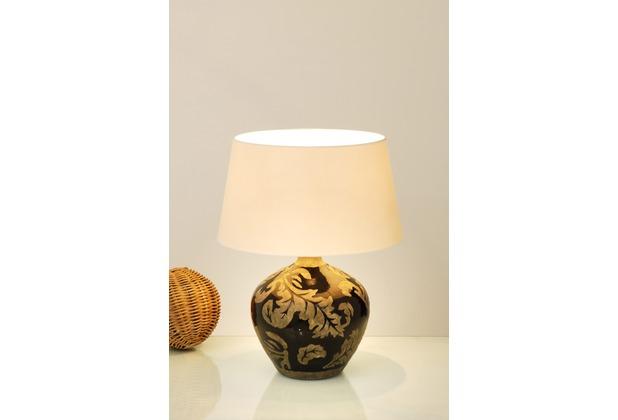 Holländer Tischleuchte 1-flg. TOULOUSE Keramik glasiert schwarz-schlamm - Schirm rund écru, 42 cm hoch