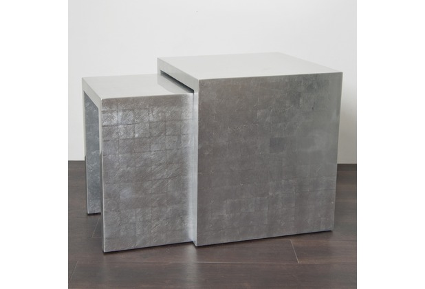 Holländer Tischset 2-tlg. OTTICA NOBILE ARGENTO Akazienholz MDF mit Blattsilber - oberflächenversiegelt