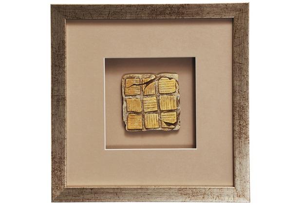 Holländer Wandbild GOIA 1 Holz-Glas-Kunststein silber-gold-sand
