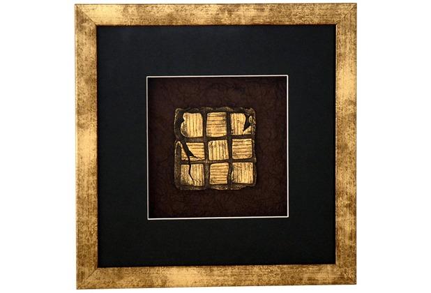 Holländer Wandbild MICADO 1 Holz-Glas-Kunststein gold-schwarz