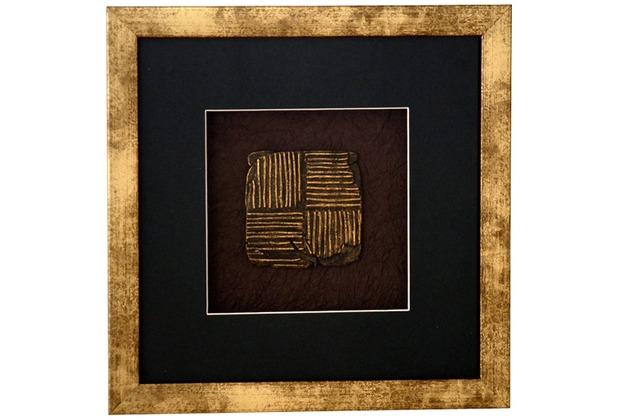 Holländer Wandbild MICADO 2 Holz-Glas-Kunststein gold-schwarz